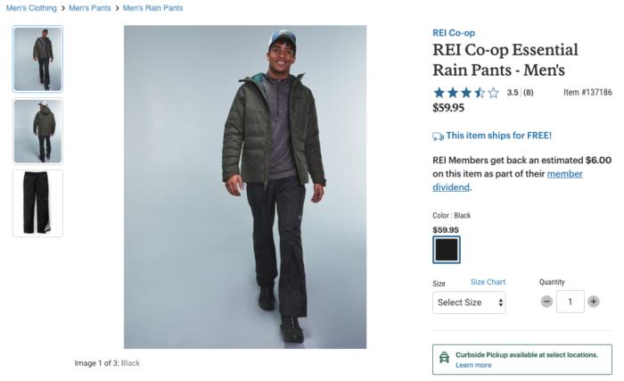 REI men's rain pant production assistant wear